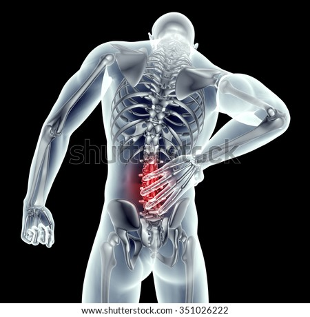 x-ray image of a man with back pain on black with clipping path .