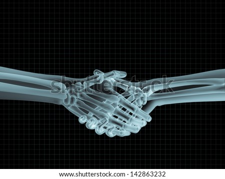 X-ray image of hand shake - stock photo