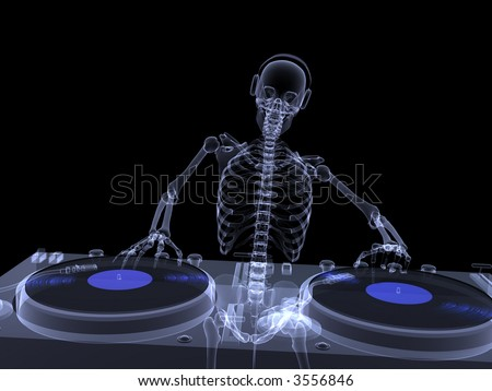 X-Ray of a male skeleton DJ spinning records on a couple of xray turntables. Isolated on a black background - stock photo