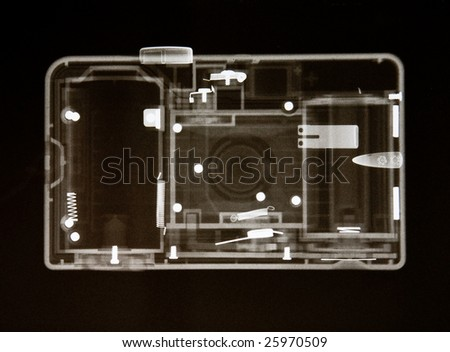 x-ray of a plastic toy camera