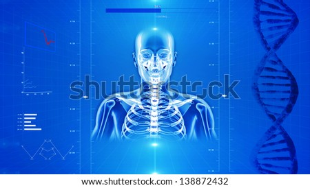 X-Ray of human skeleton on high tech background - stock photo