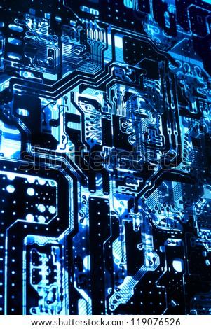X-Ray printed PCB circuit as blue light. - stock photo