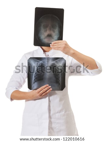X-ray specialist on isolated white - stock photo