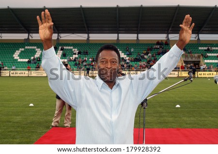 XANTHI GREECE MAY 12.  Pele, Edson Arantes do Nascimento, the famous Brazilian football player, during his visit for the opening of the new arena of the Skoda Xanthi FC at Xanthi, May 12, 2005 - stock photo