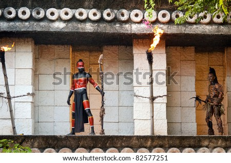 "XCARET, MEXICO - JULY 19: Pre-Hispanic Mayan performance called ""Dance of the Owl"" in the jungle at ancient Mayan Village on July 19, 2011 in Xcaret, Riviera Maya, Mexico - stock photo"
