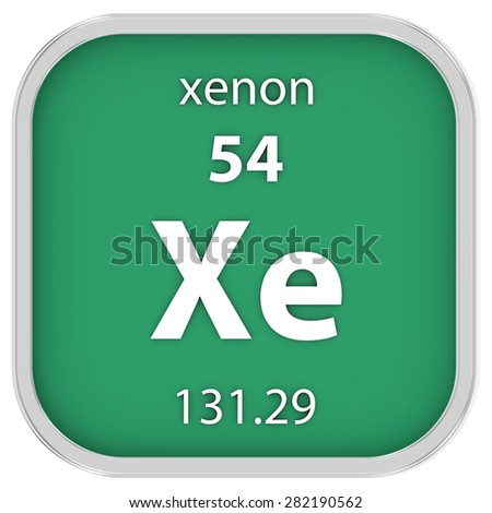 Xenon material on the periodic table. Part of a series. - stock photo