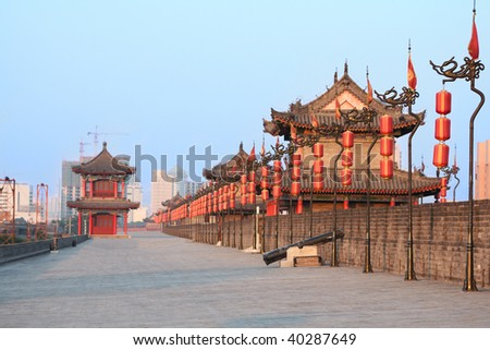 Xi'an city centre wall, China - stock photo