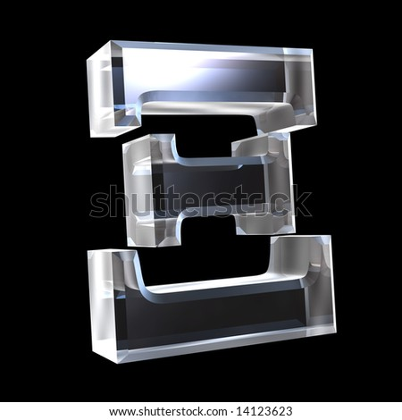 xi symbol in glass (3d) - stock photo