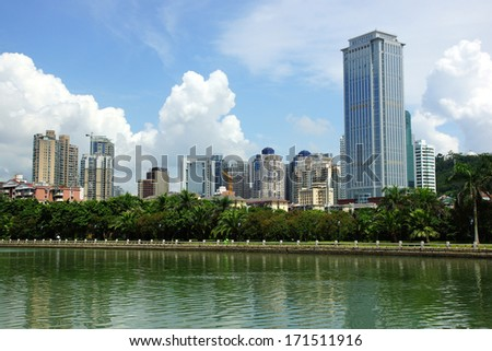 Xiamen aerial view, modern city in China - stock photo