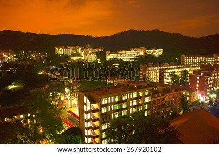 XIAMEN, CHINA, OCTOBER 22, 2013: night view of campus of xiamen university in china.