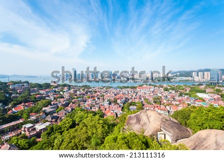 xiamen panoramic scenery , aerial view from gulangyu island  - stock photo