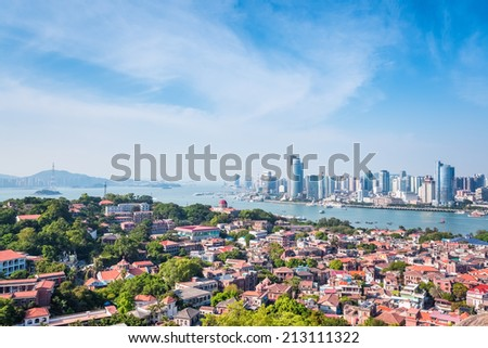 xiamen scenery, bird's eye view of gulangyu island  - stock photo