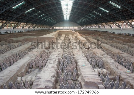 "XIAN,CHINA -JUNE 2 :The Terracotta Army or the ""Terra Cotta Warriors and Horses"" buried in the pits next to the Qin Shi Huang's tomb in 210-209 BC. June 2, 2013 in Xian of Shaanxi Province, China - stock photo"