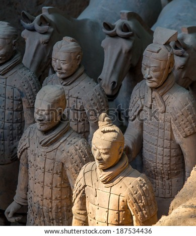 """XIAN,CHINA -MAR 24 :The Terracotta Army or the """"Terra Cotta Warriors and Horses"""" buried in the pits next to the Qin Shi Huang's tomb in 210-209 BC. March 24, 2014 in Xian of Shaanxi Province, China.  - stock photo"""