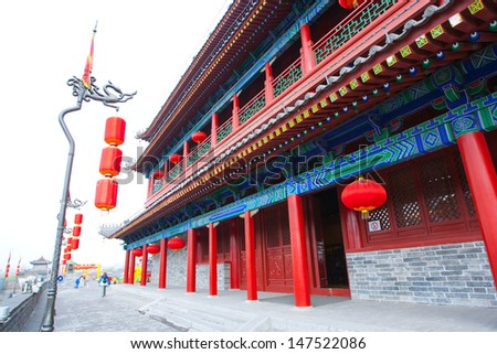 Xian City Wall Building. Xian, China    - stock photo