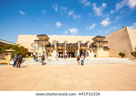 XIAN, SHANXI/CHINA-MAY 16: Emper Qin's Terra-cotta warriors and horses Museum on May 16, 2016 in Xian, Shanxi, China. The picture shows the building of Museum. - stock photo