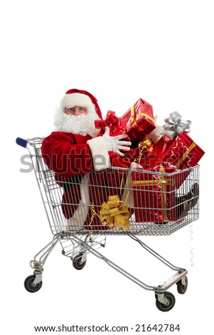 Xmas  background: Santa Claus, gifts, - stock photo