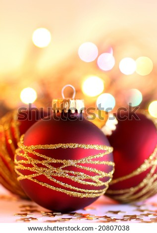 Xmas balls and lights as a background - stock photo