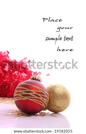 Xmas balls and place for sample text - stock photo