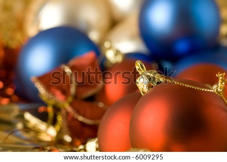 xmas bulbs in diverse colors and positions