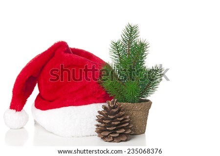 Xmas card with Santa hat and fir - stock photo
