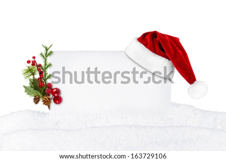 xmas card with santa hat in front of white background - stock photo