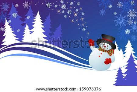 Xmas card with snowman. Raster copy - stock photo