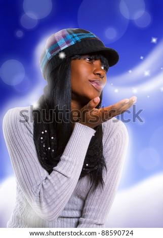 xmas girl. beautiful winter woman - stock photo