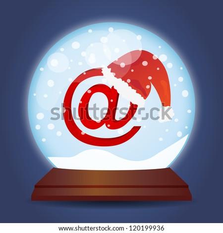 Xmas glass ball with snow Christmas mail (Raster version) - stock photo
