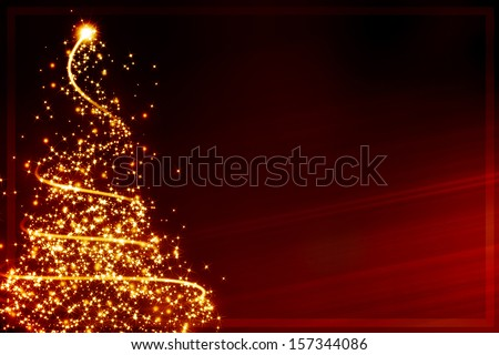 xmas greeting card: abstract christmas tree formed by blurred lights - stock photo
