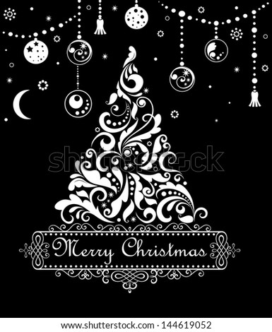 Xmas greeting card. Raster copy of vector image