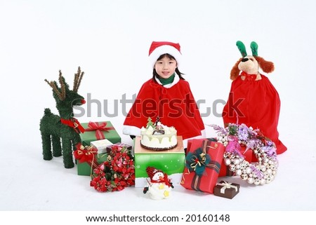 Xmas Kids sitting with Christmas gifts on white background
