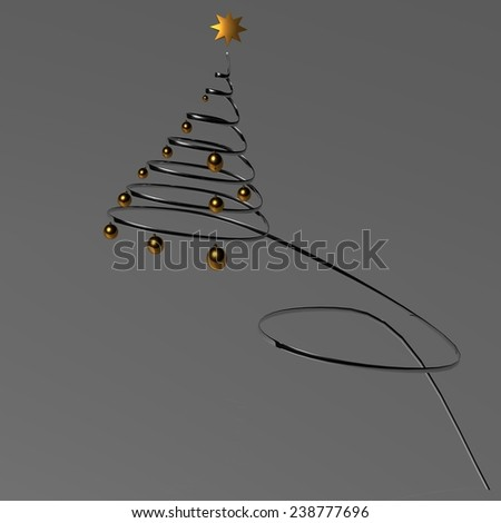 xmas spiral silver tree - golden ball - star light - space for your text - Cristmas background - stock photo