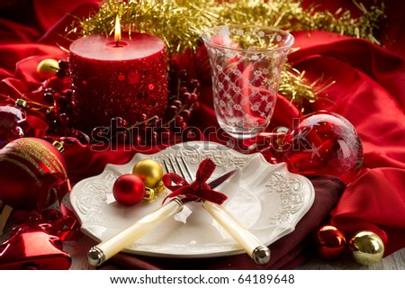xmas table - stock photo