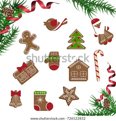 Xmas theme top view on white table background. Merry Christmas greeting poster with pine branch and Gingerbreads. Rastered copy