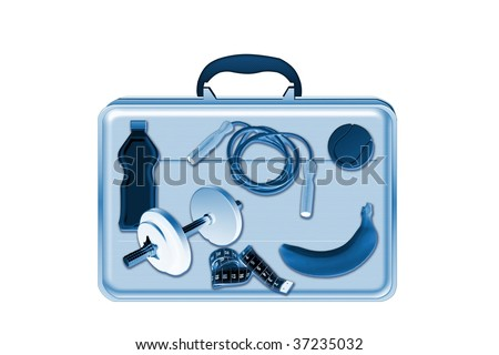 Xray scan detects training equipment in briefcase - stock photo