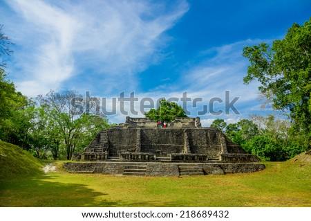 xunantunich maya historical archaelogical site ruins in belize caribbean - stock photo