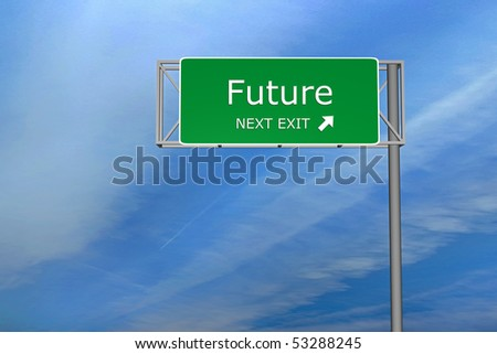 XXL resolution 3D render of  highway sign - Future - stock photo