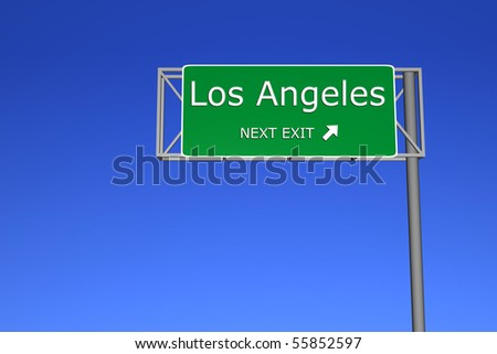 XXL resolution 3D render of  highway sign - Los Angeles - stock photo
