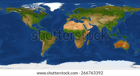 XXL size physical world map illustration. Primary source, elements of this image furnished by NASA. - stock photo