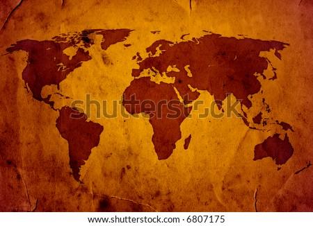 XXL World Map grunge style high quality - stock photo