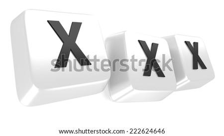 XXX written in black on white computer keys. 3d illustration. Isolated background. - stock photo