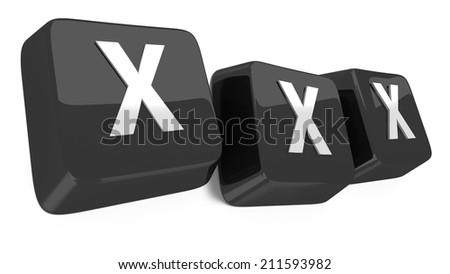 XXX written in white on black computer keys. 3d illustration. Isolated background. - stock photo