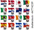 XXXL 3D render of Groups E to H participating in the World Cup 2010 tournament to be held in South Africa. Flag and ball depicted. Medium resolution - look aout for more 2010 images. - stock photo