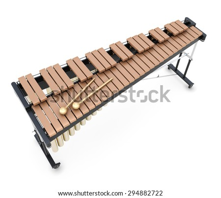 Xylophone isolated on white background. 3d render image. Music instument. - stock photo