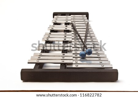 Xylophone with mallets on isolated white background - stock photo