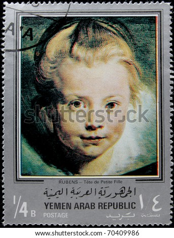 "Y.A.R.-CIRCA 1971: A post stamp printed in Yemen Arab Republic shows draw by artist Paul Peter Rubens ""Head of a child"", circa 1971"