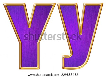 Y letter of small and big from violet with gold shiny frame alphabet set, isolated on white. Computer generated 3D photo rendering.  - stock photo