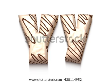 Y letter of white chocolate with brown cream in 3d rendered on white background. - stock photo