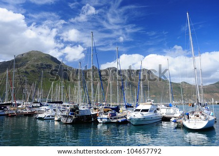 Yacht basin in Hout Bay Harbor, Cape Town
